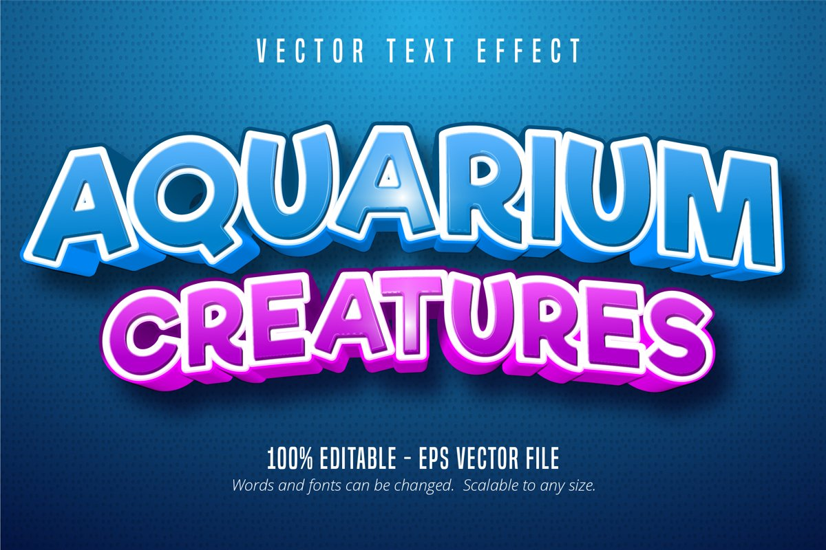Aquarium creatures text, editable text effect example image 1