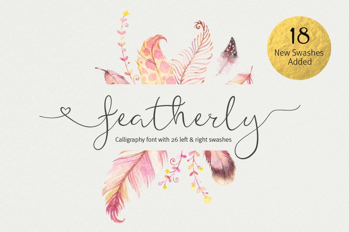 Featherly Font - wedding font example image 1