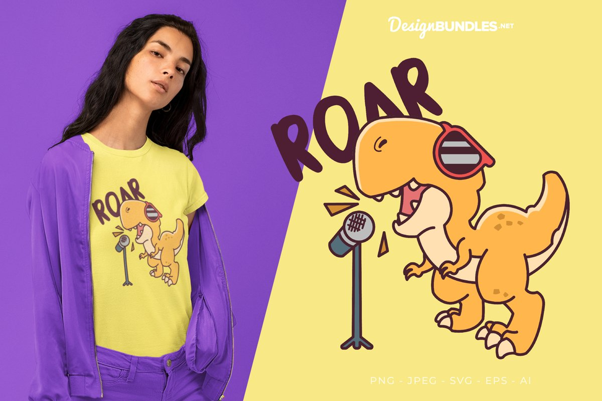 Sing with Dino Vector Illustration For T-Shirt Design example image 1