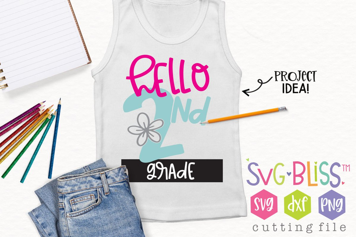Hello 2nd Grade Back to School SVG Cut File example image 1