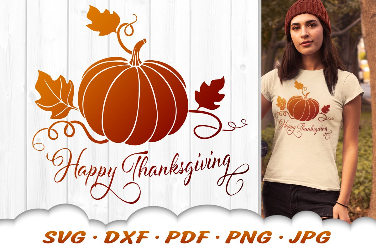 Happy Thanksgiving SVG Pumpkin SVG DXF Cut Files example image 1