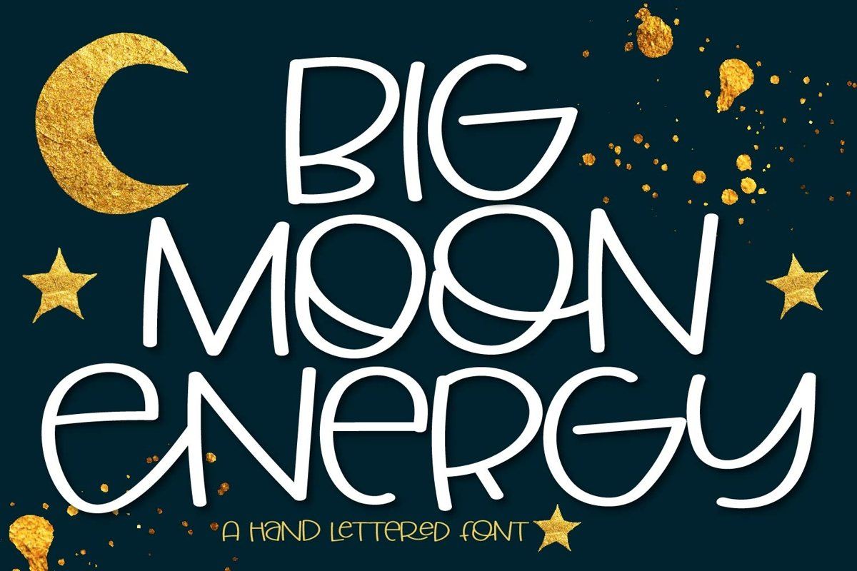 Big Moon Energy - A Hand Lettered Font example image 1