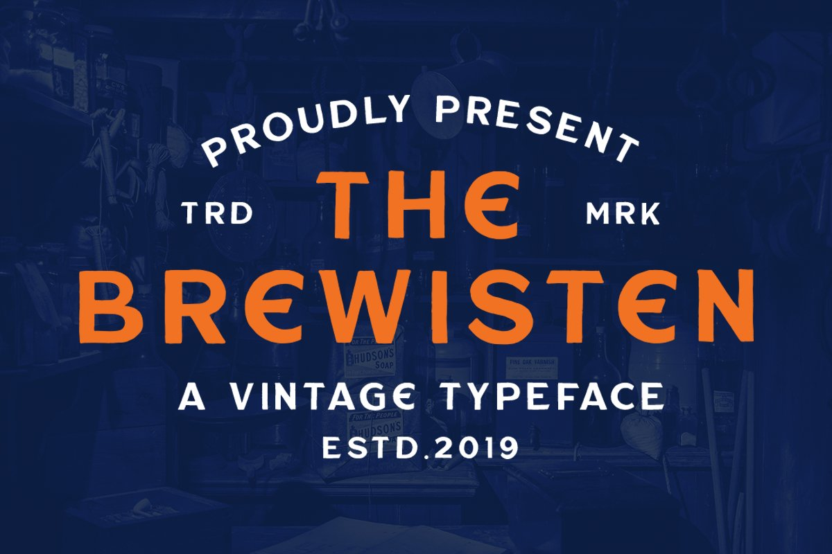 Brewisten Vintage Font & Extras Logo Badges example image 1