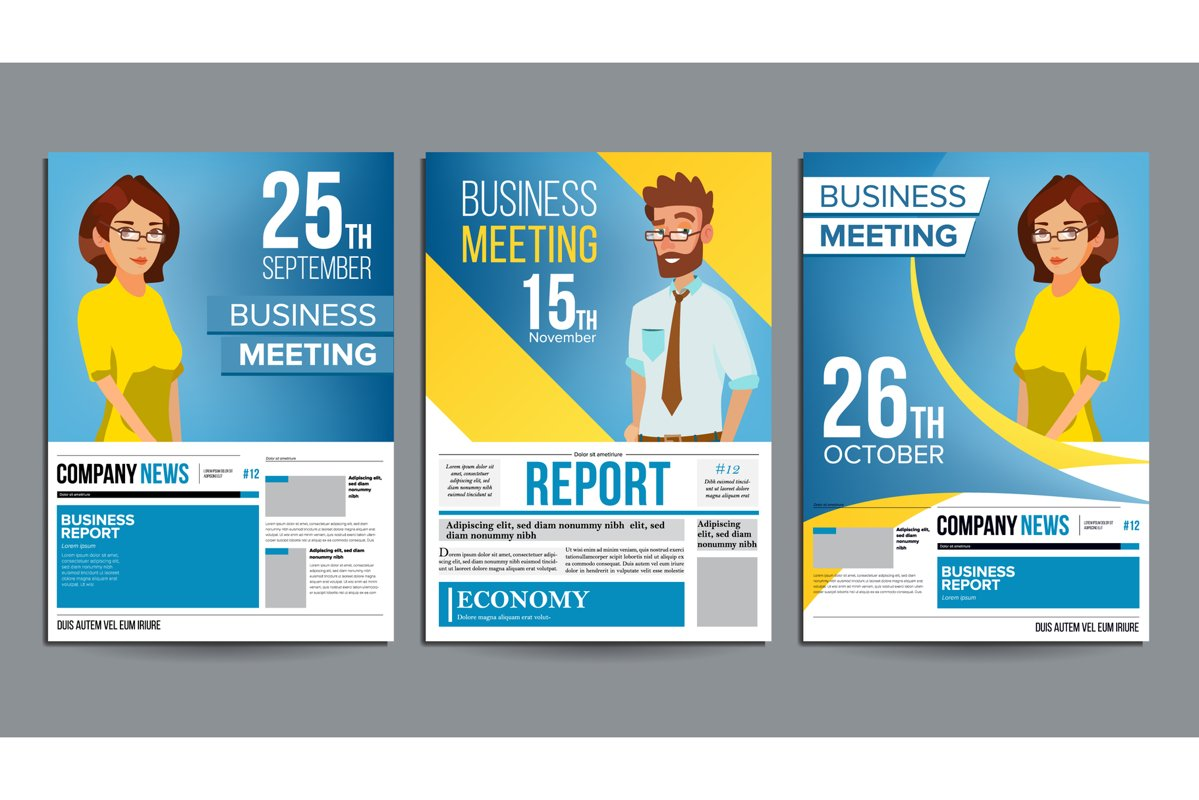 Business Meeting Poster Set Vector. Businessman And Business example image 1