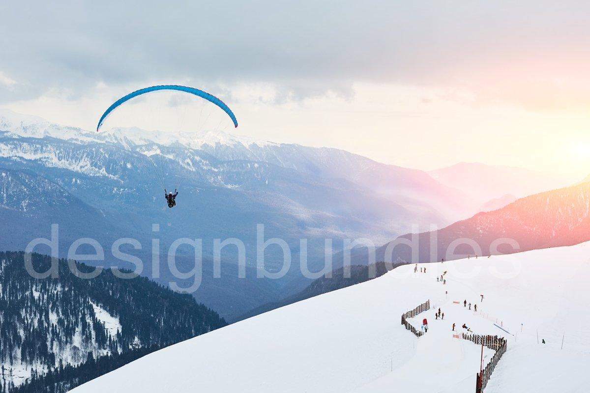 Winter landscape of a ski resort in Sochi, Krasnaya Polyana. example image 1