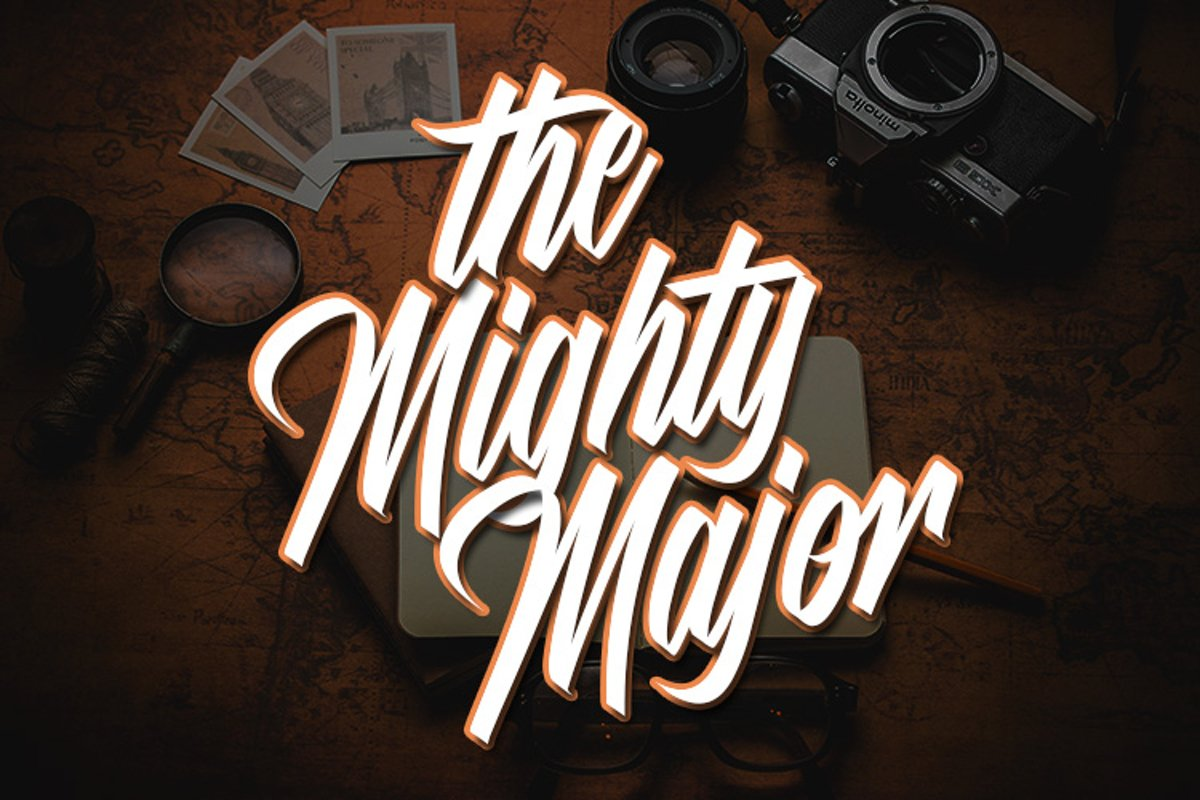 The Mighty Major - Calligraphy Script Font example image 1