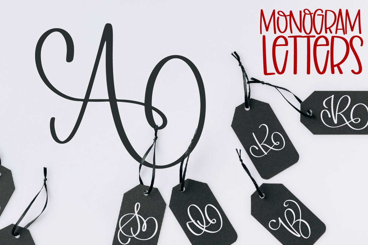 Monogram Letters Font - Swoosh-y Beautiful Hand Lettered example image 1