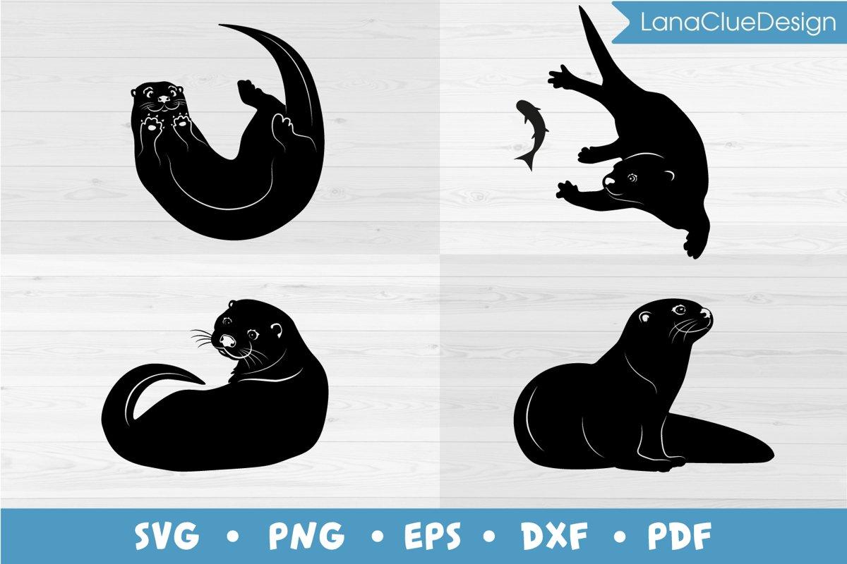 4 Otters SVG Bundle example image 1