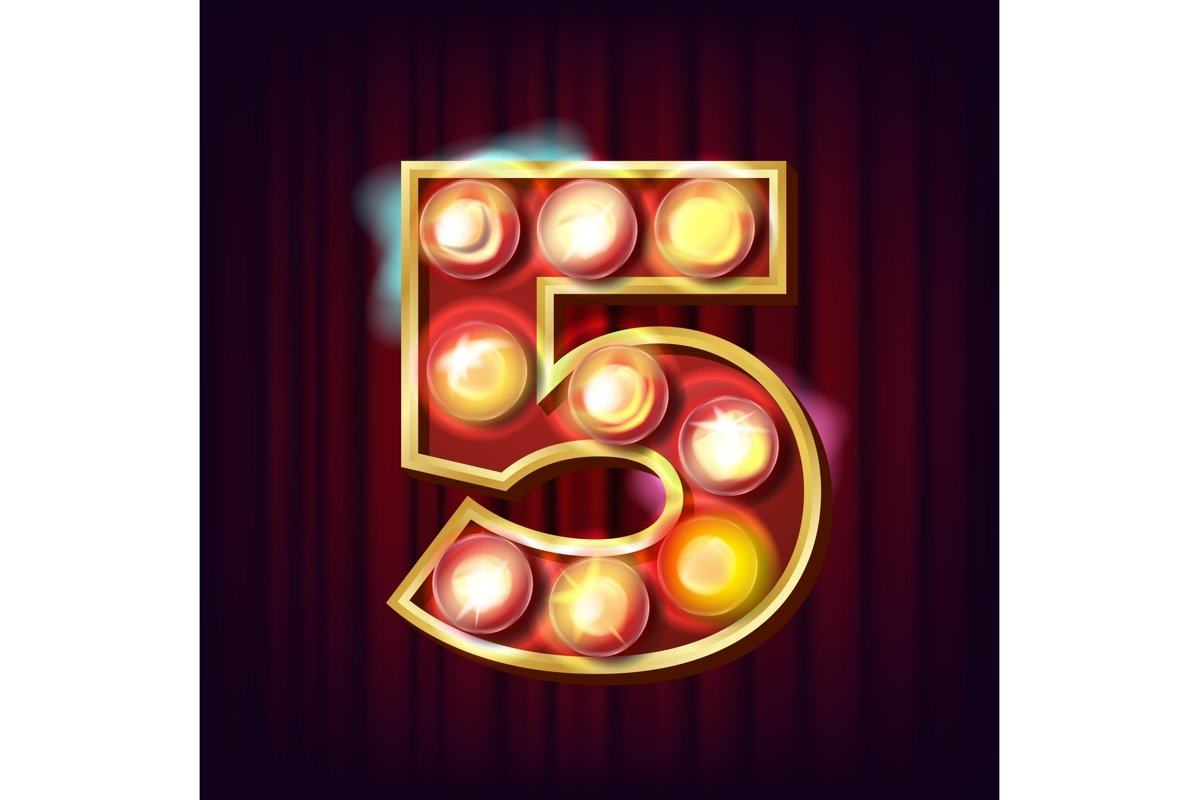 5 Number Vector. Five Font Marquee Light Sign. Realistic example image 1
