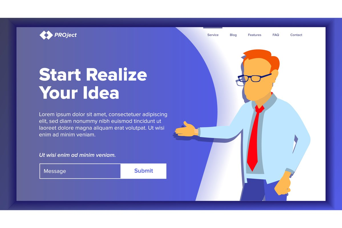 Landing Website Page Vector. Business Website. Web Page. example image 1