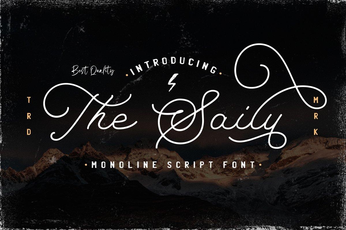 The Saily - Monoline Retro Script Font example image 1