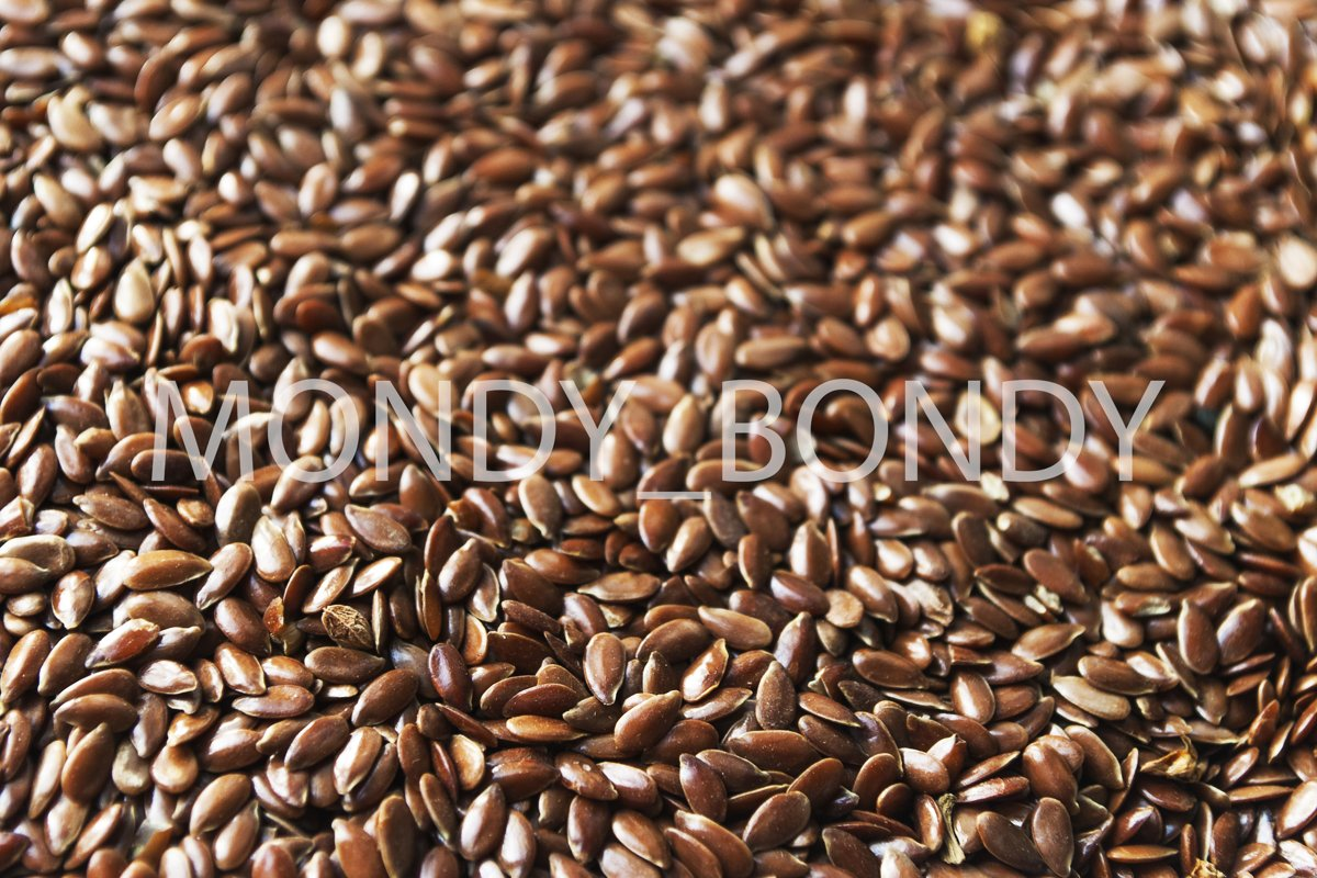 Flax seeds close up. Useful ingredient. Proper nutrition example image 1
