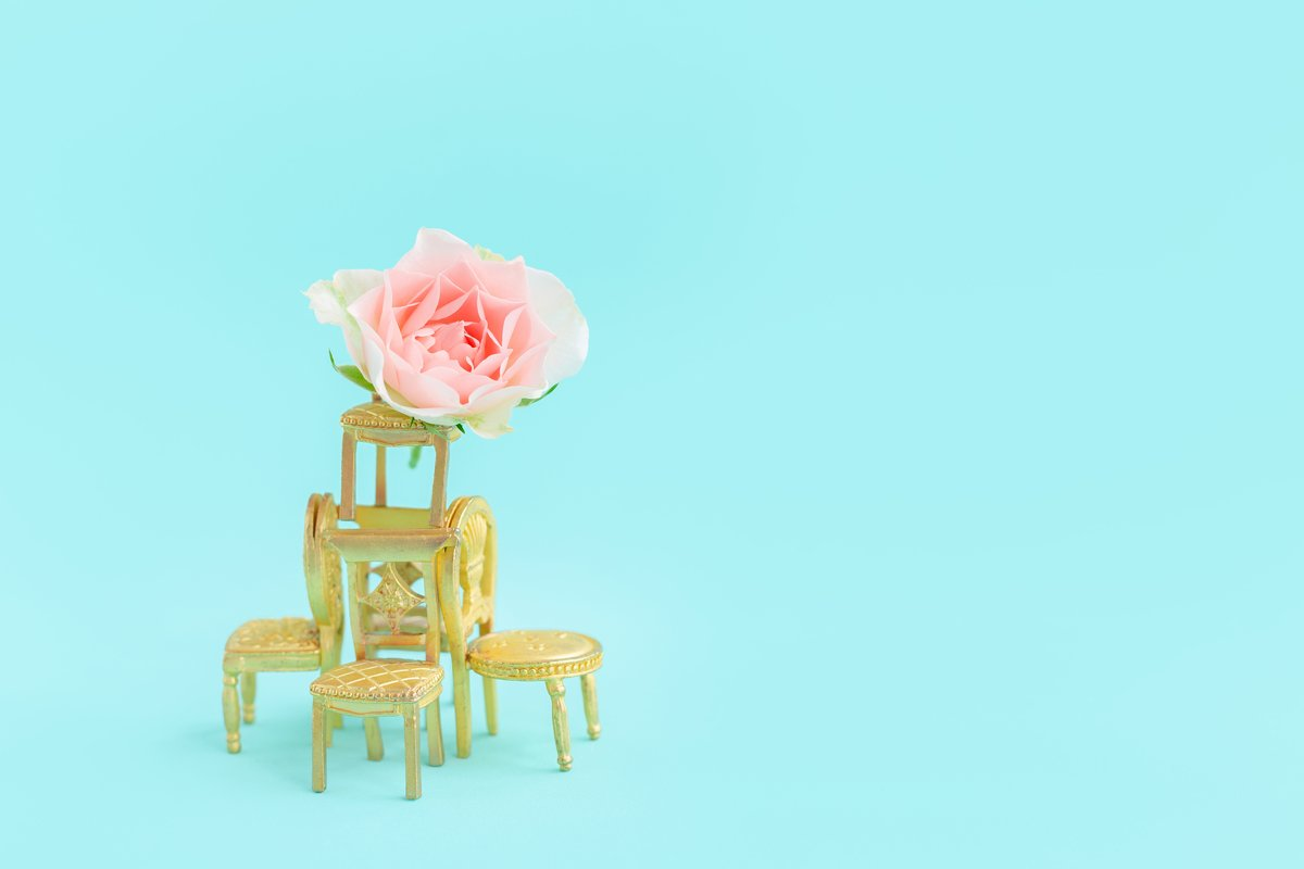 Small toy golden retro chairs.Rose flower.Blue greeting card example image 1