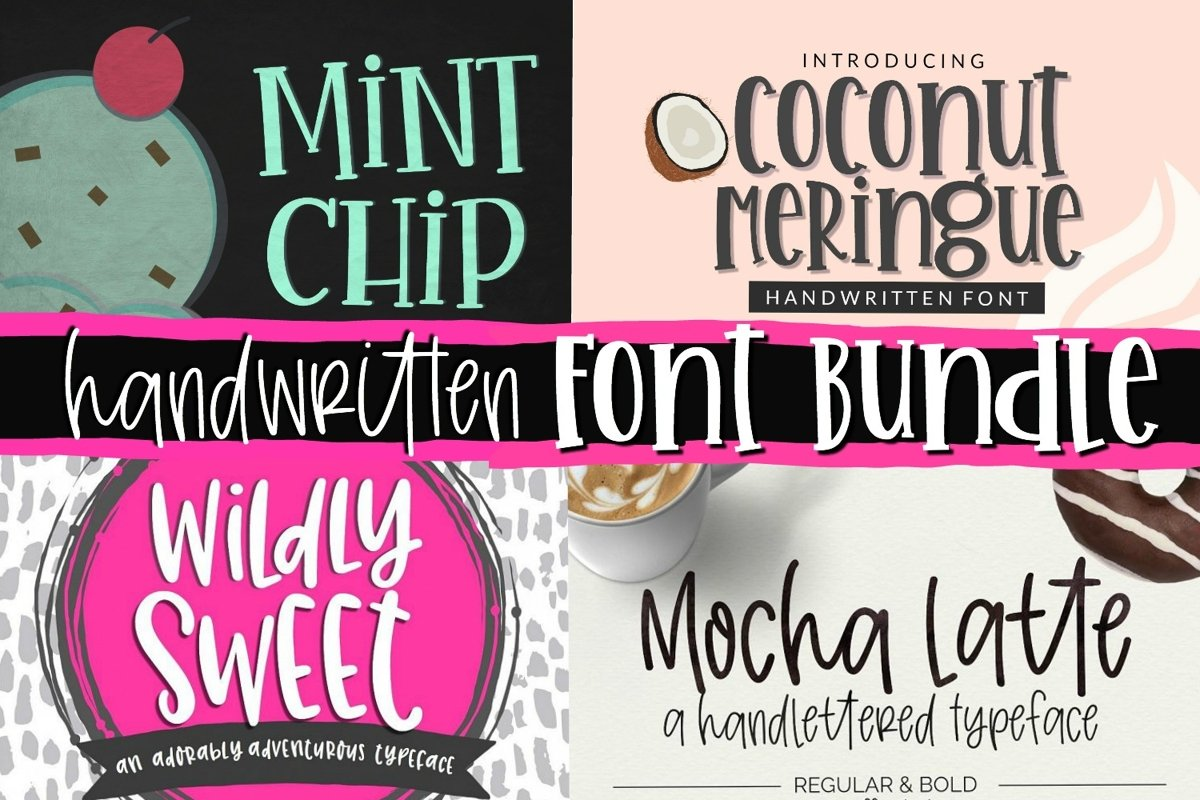 Handwritten Font Bundle - 4 Cut-friendly Fonts example image 1