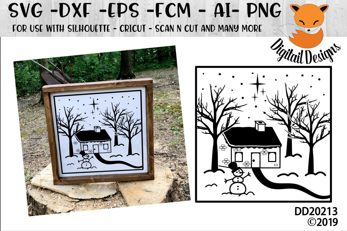 Winter House Snowy Christmas Scene SVG example image 1
