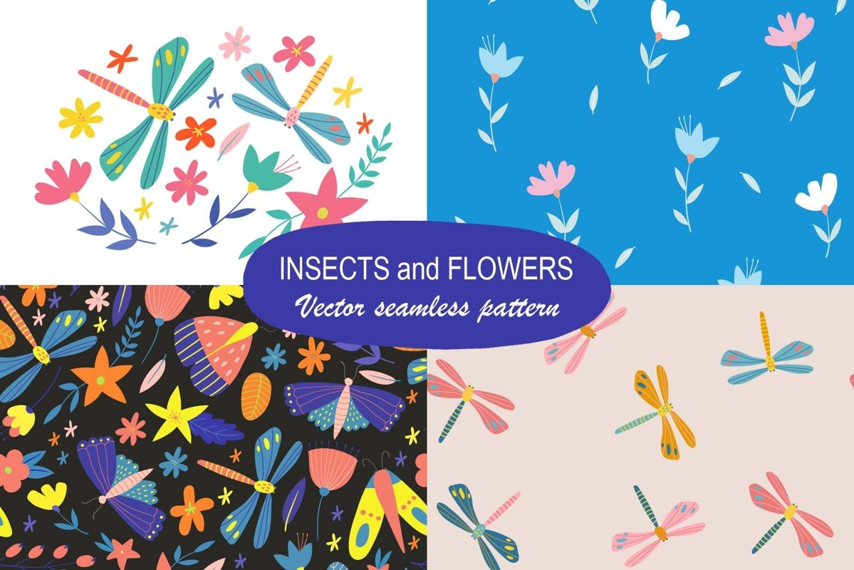 Insects and flowers. Seamless patterns and t-shirt print. example image 1