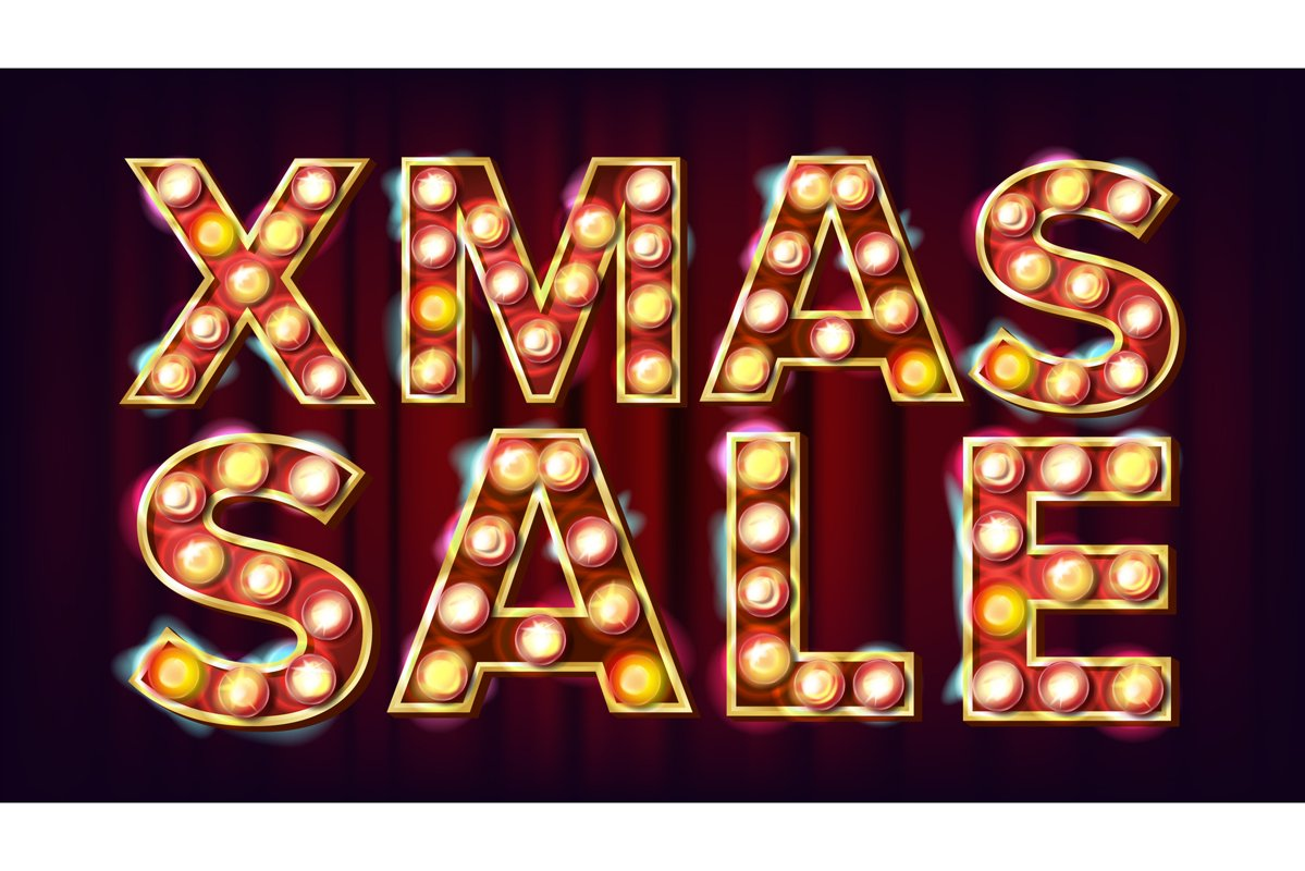 Christmas Party Sign Vector. Vintage Golden Illuminated Neon example image 1