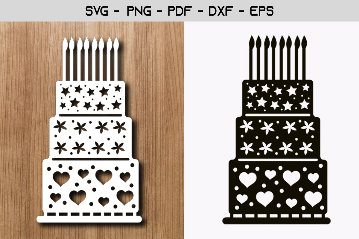 Cake Happy Birthday Paper Template Design example image 1
