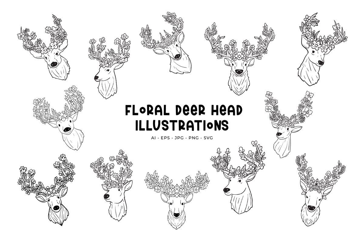 Floral Deer Head illustration example image 1