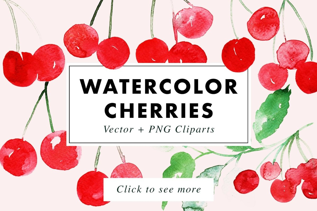 Watercolor Cherries Vector & PNG example image 1