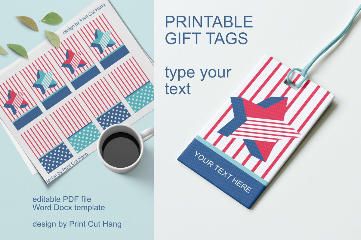 Patriotic Tags with Star Printable Editable PDF Tag Template example image 1