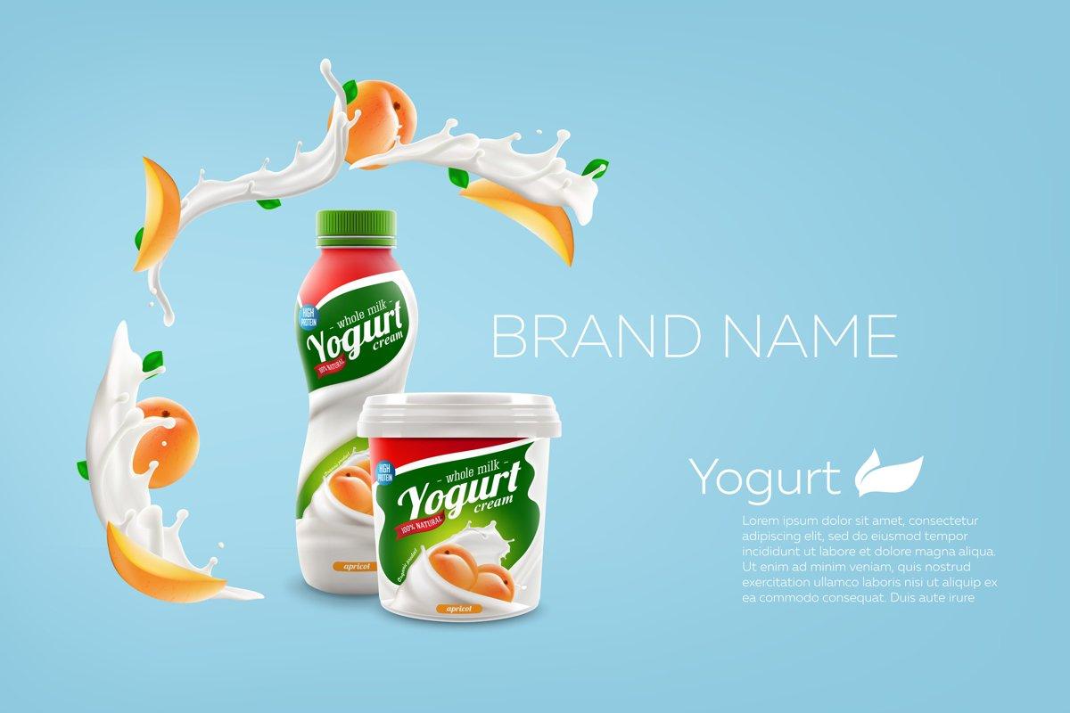 Whole milk yogurt bottle design example image 1