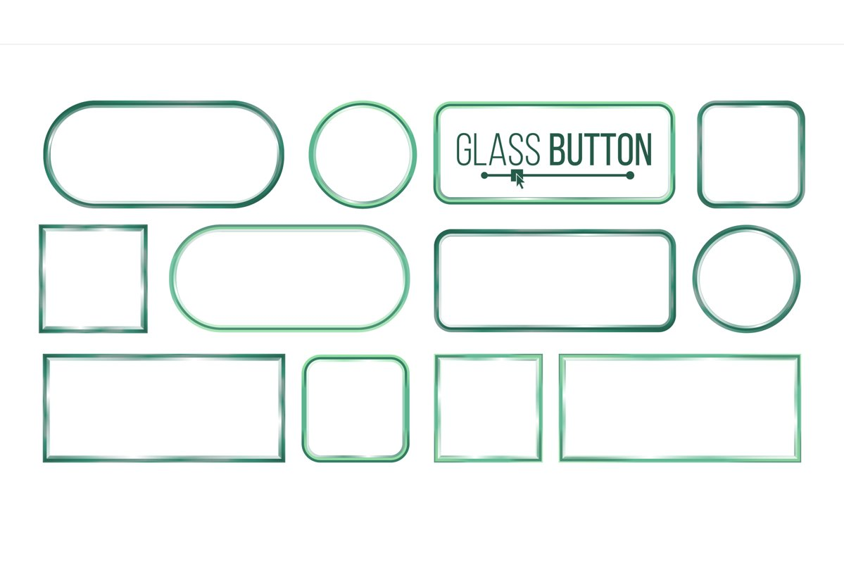 Glass Buttons, Frames Vector. Square, Round example image 1