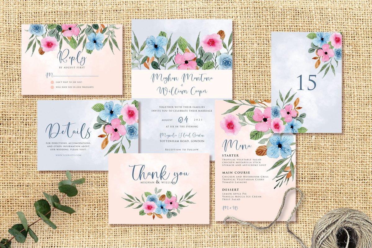 Blue Pink Flower Wedding Invitation Set example image 1