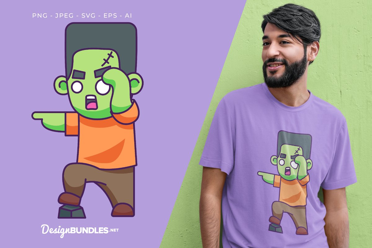 Curious Frankenstein Vector Illustration For T-Shirt Design example image 1