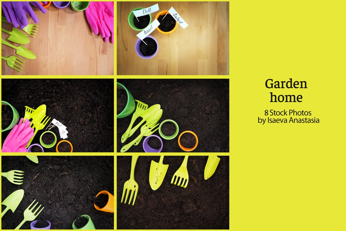 Garden pots and tools with earth on the ground background example image 1