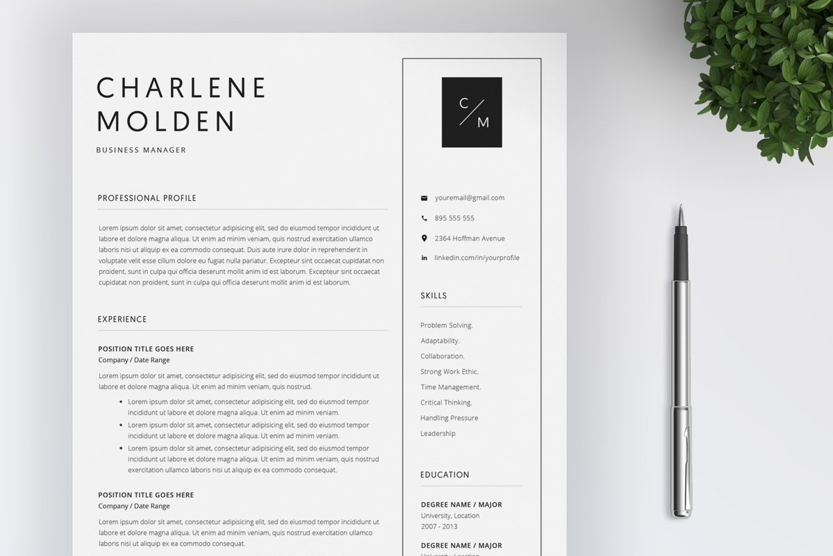 Creative Resume Template | Cover Letter example image 1