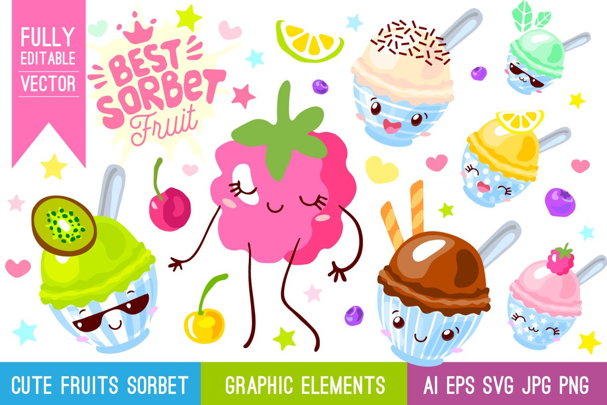 Cute Fruits Sorbet Characters example image 1