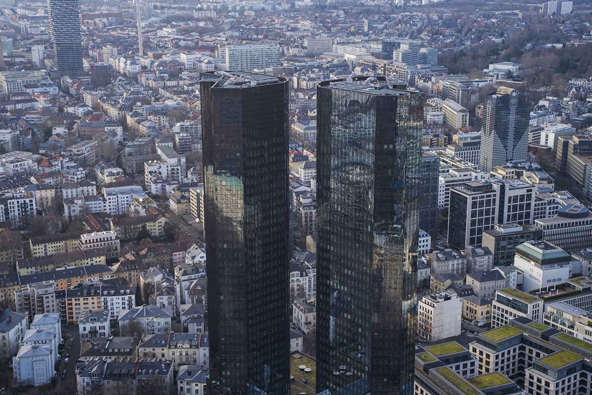 aerial view of the city and Deutsche Bank example image 1