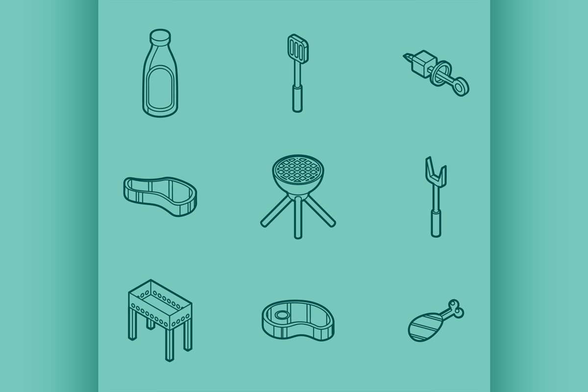 BBQ color outline isometric icons example image 1