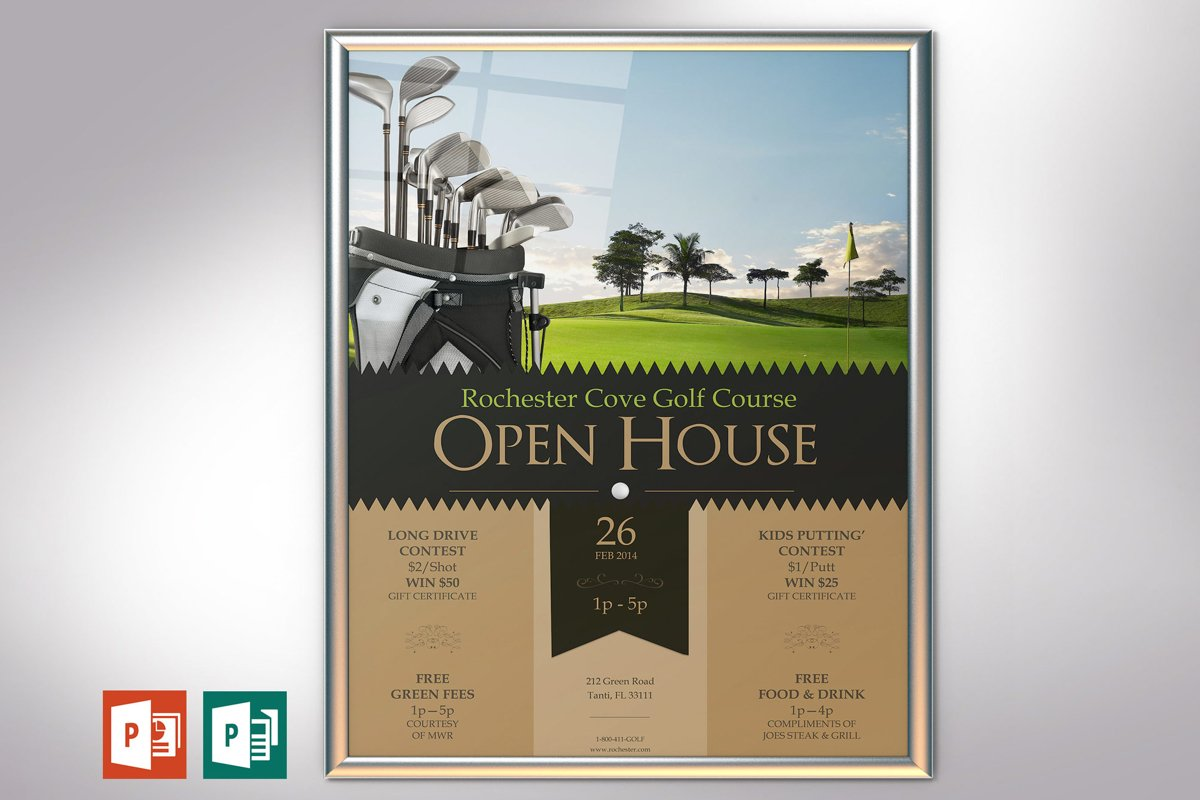 Golf Resort Open House Poster PowerPoint Publisher Template example image 1