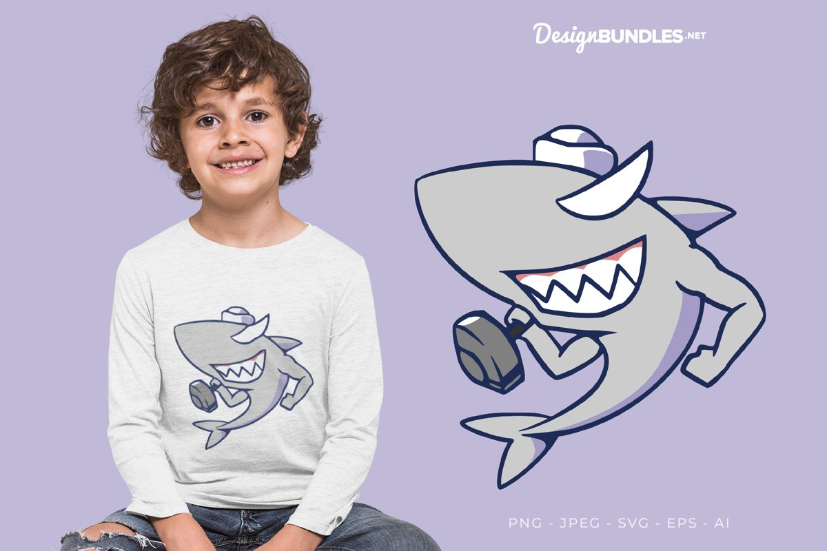 Captain Shark Exercising Vector Illustration For T-Shirt example image 1