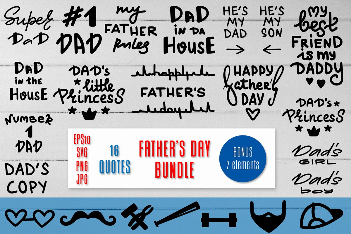 Happy Father's Day Bundle. 16 Quotes and 7 bonus elements. example image 1