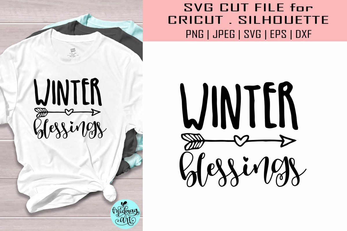 Winter blessings svg, winter svg example image 1