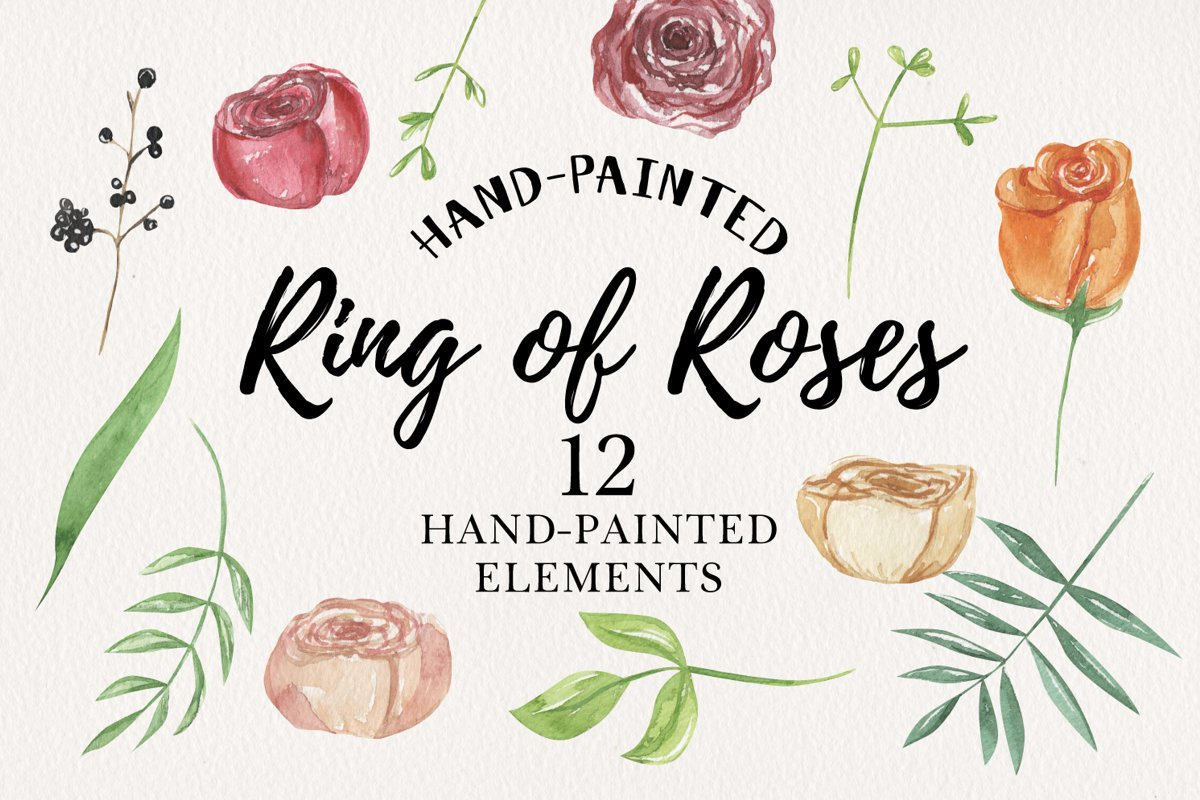 Ring of Roses Watercolor Floral 12 Elements Flowers Red example image 1