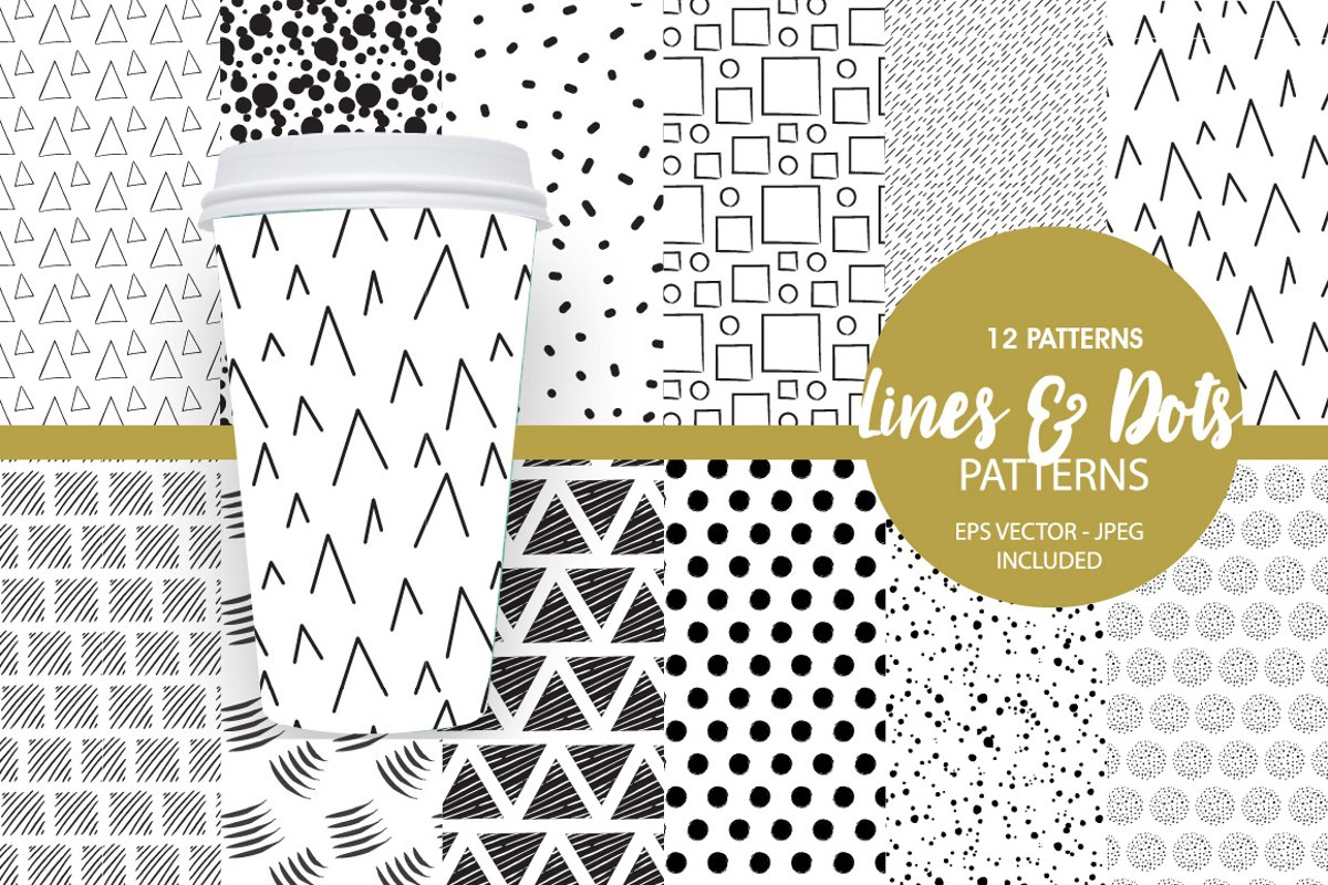 Geometric Lines Pattern collection, vector ai, eps and jpeg example image 1