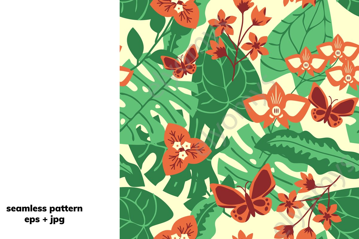 Tropical floral pattern example image 1