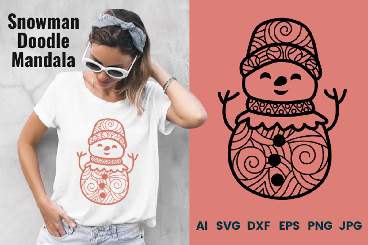 Snowman Doodle Mandala SVG example image 1