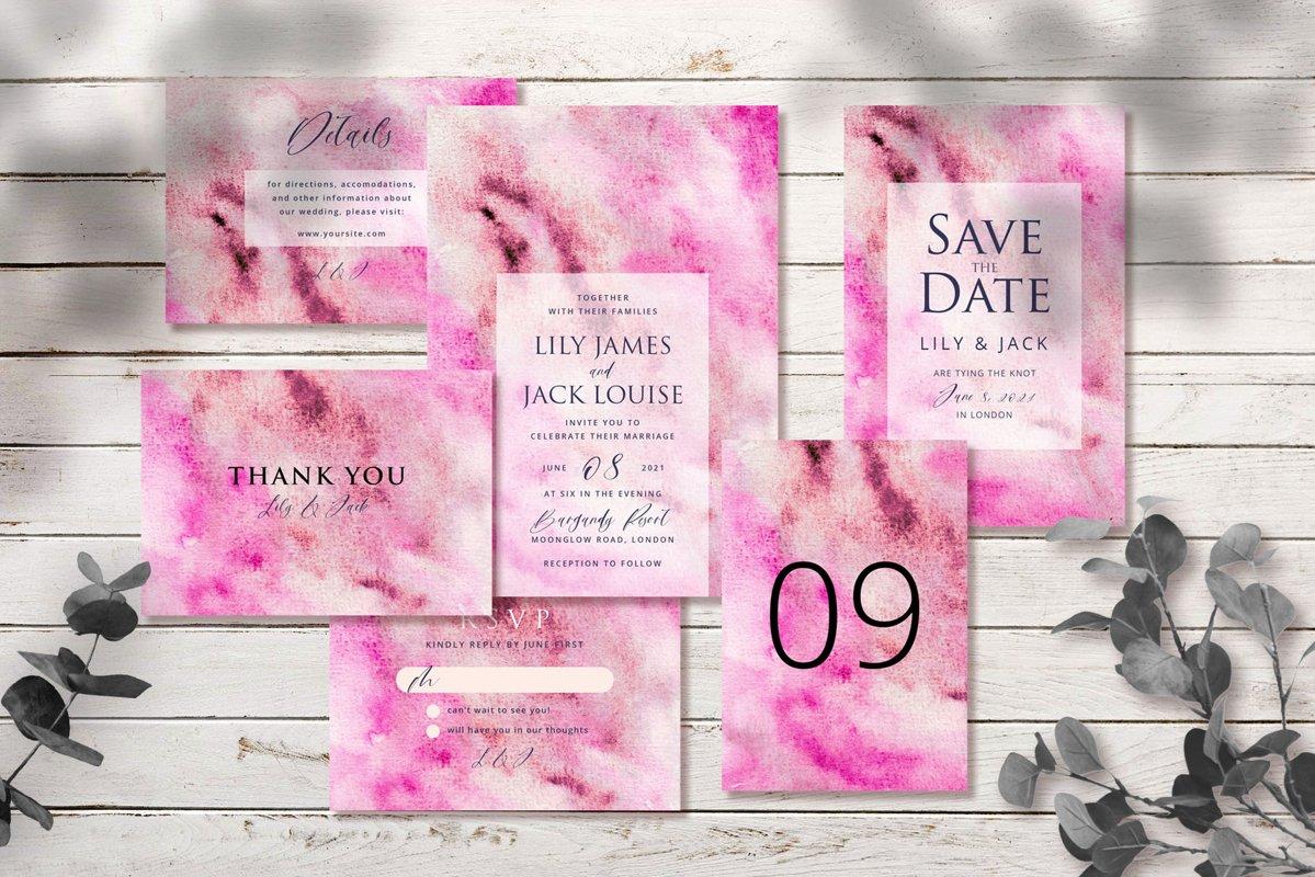 Abstract Pink Watercolor Wedding Invitation Set example image 1