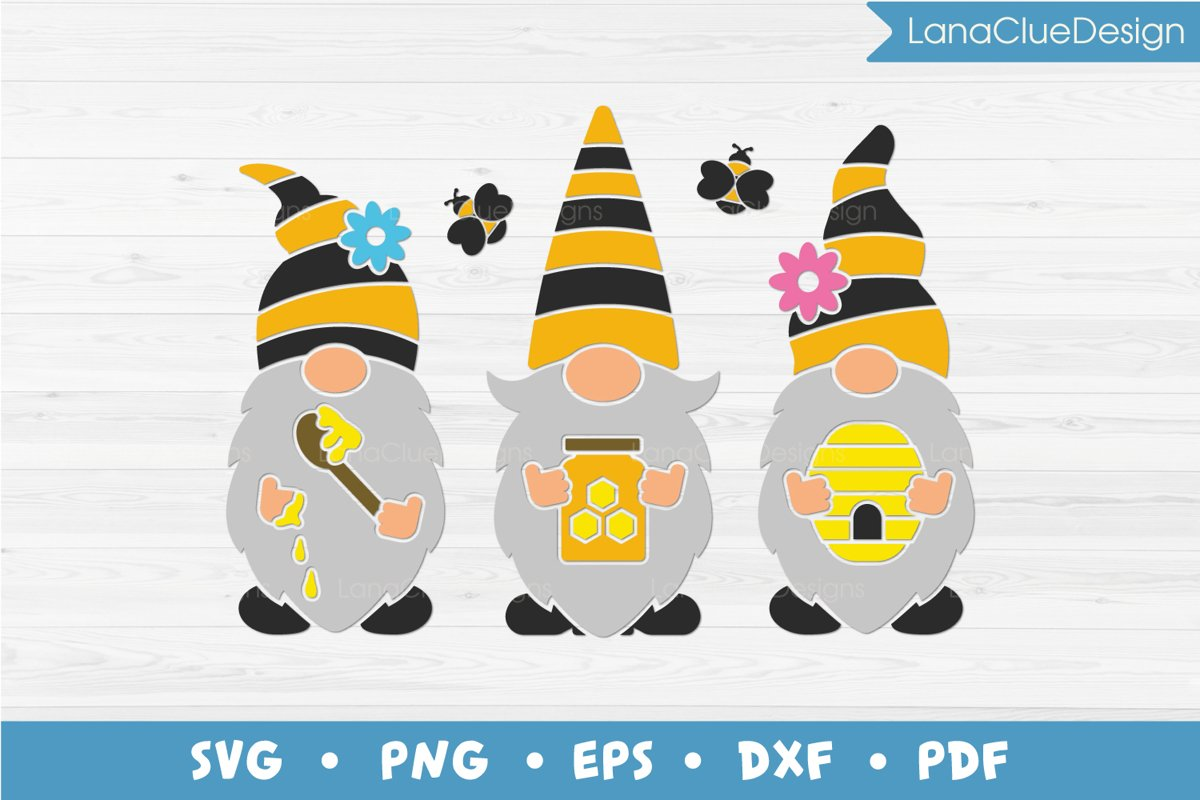 Bumble Bee Gnomes SVG, Three Honey Gnomes example image 1