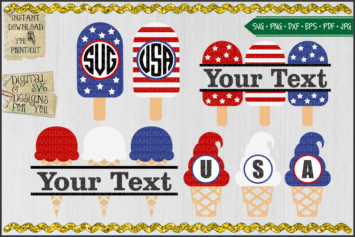 Patriotic Popsicles and Ice Cream Monogram and Frame Bundle example image 1