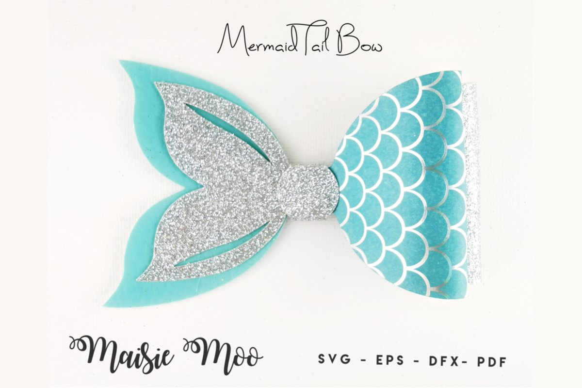 Mermaid Tail Bow Template SVG, Bow SVG, Felt Bow PDF, example image 1