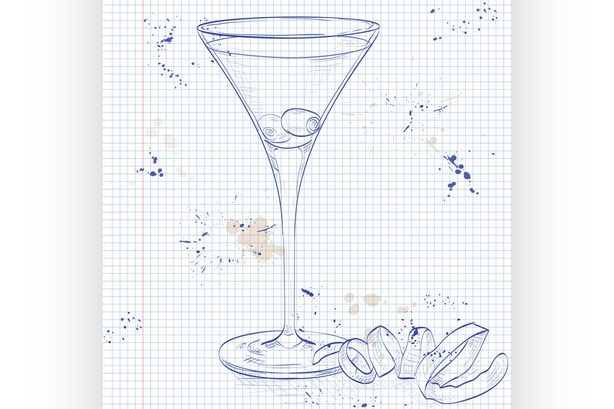 Cocktail Dirty Martini on a notebook page example image 1