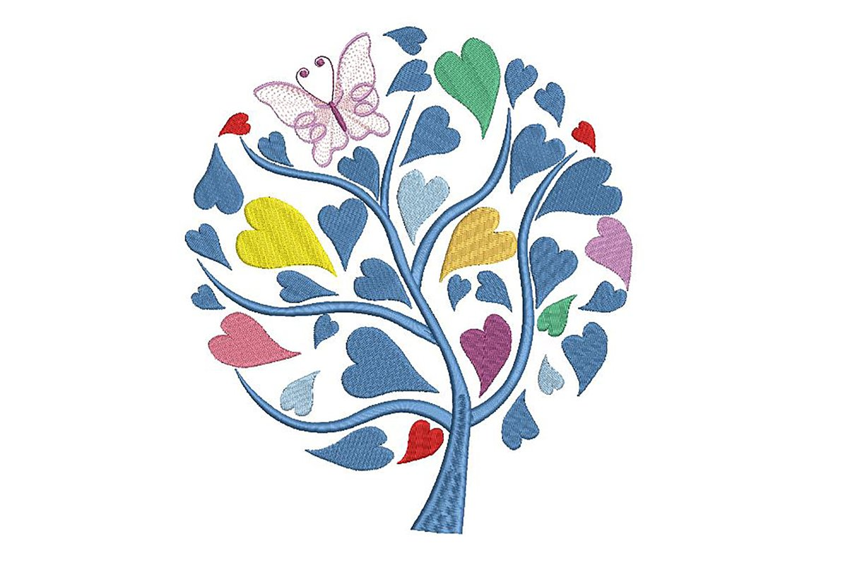 Tree embroidery design with heart shaped leaves, 3 sizes example image 1
