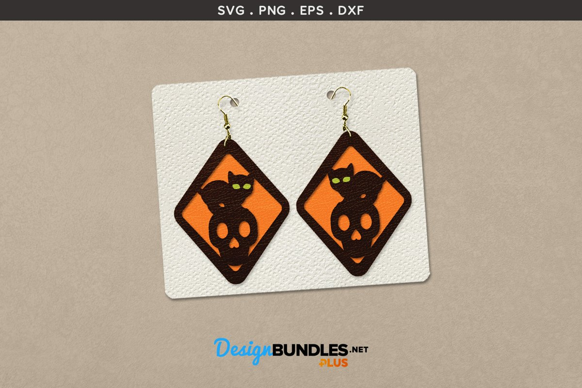 Halloween Earrings Template | Black cat on skull example image 1