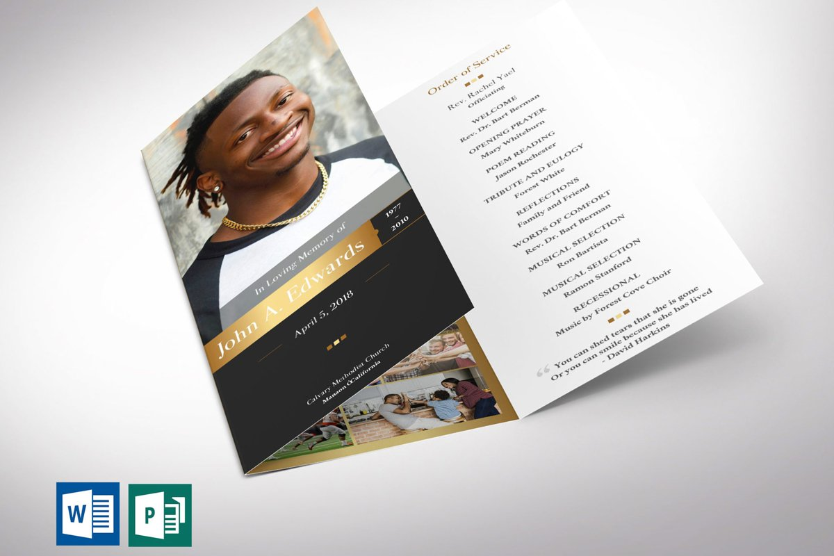 Gold Funeral Program Tri-fold Word Publisher Template example image 1
